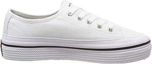 Tommy Hilfiger Corporate Flatform Sneaker, Zapatillas para Mujer, Blanco (White 100), 37 EU