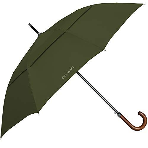ZEKAR Wood J Handle Galvanized Stick Umbrella | Windproof Large Classic Rain Umbrellas | 54 & 62 inch | UK Gentleman Style for Men and Women | Unique Style with Long Umbrella Tip (Olive-green, 62