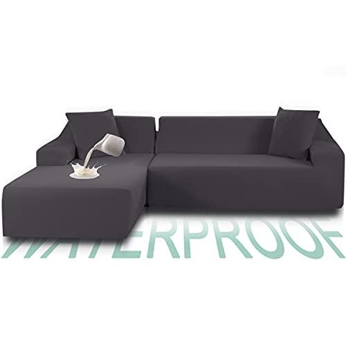 TOPOWN Funda Sofa Chaise Longue Impermeable 3 plazas, Funda Chaise Long Elastica Brazo Derecho/Izquierdo, Lavable en Lavadora, Gris Claro