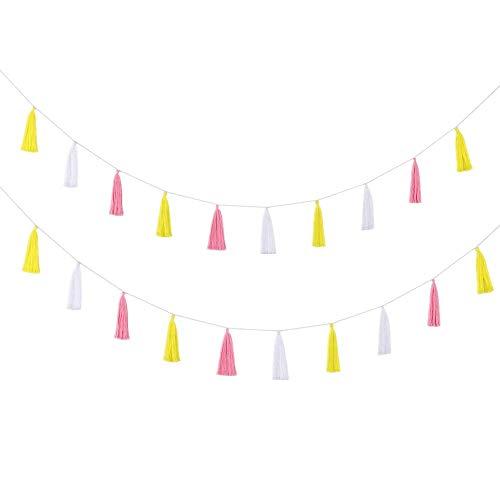 LEWOTE Cotton Tassel Garland Banner[20 Pcs][Party Home Decoration] (Pink/White/Gold)