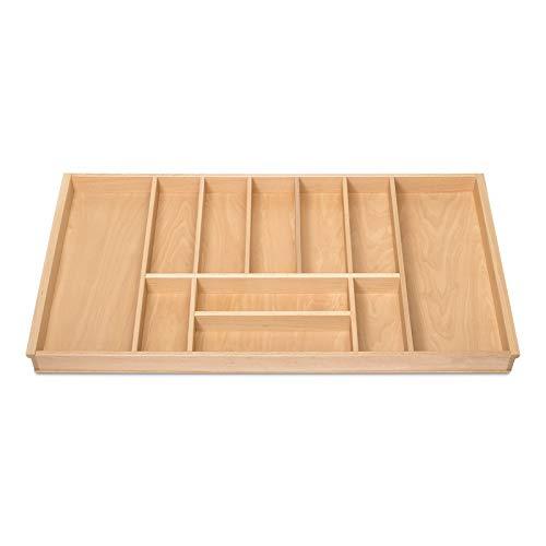 BUCHE Besteckeinsatz für 100er Schublade z.B. Nobilia ab 2013 (473 x 897 mm) Holz-Schubkasteneinsatz mit 11 Fächer ORGA-BOX III