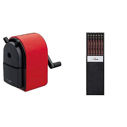 【セット買い】三菱鉛筆 鉛筆削り KH-20 手動式 赤 KH20.15 & 鉛筆 ハイユニ HB 1ダース HUHB