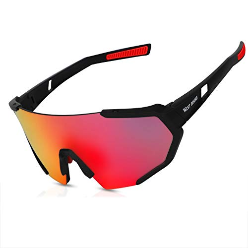 ZPL Unisex Cycling Glasses Polarised Sports Sunglasses Polarized Light Anti-UV HD Three Groups of Lenses Suitable For Outdoor Travel Cycling,black red