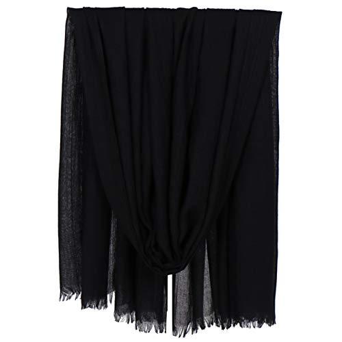 KAVINGKALY Baumwollschals für Frauen Leichte einfarbige Hijab-Leinenschals mit Fransen und Wickel für Abendkleider (Schwarz)