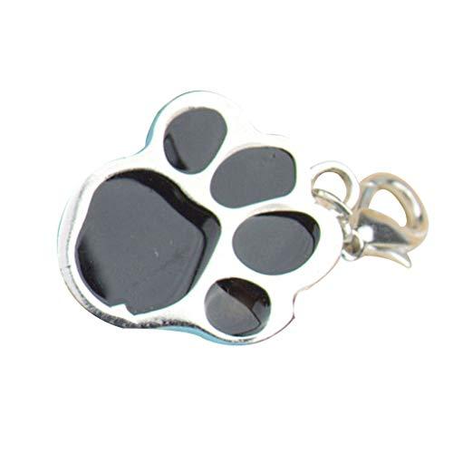 Uzinb Huella Llavero del Perro de Animal doméstico del Gato del Acero Inoxidable de la Pata del Animal de la impresión de Tarjetas de identificación Identidad Etiquetas Cuello Colgante Collar