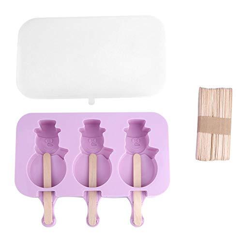 Eiscreme-Form, Eiscreme-Maschine Popsicle-Lutschbonbon-Form-Eis C-ube Behälter-Wanne des Silikon-DIY(Snowman)