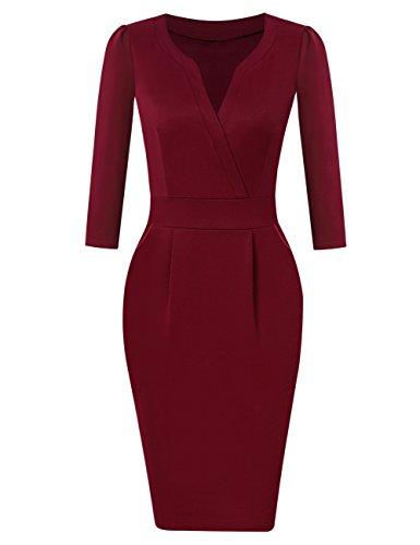 KOJOOIN Damen Elegant Etuikleider Knielang Langarm Business Kleider Cocktailkleid Rot Bordeaux Weinrot L