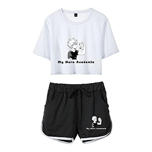 My Hero Academia Japanisches Anime Midoriya Izuku T-Shirt 3D gedruckt Kawaii Damen 2 Stück Sommer Sportswear Kurzarm Tops mit Kordelzug Shorts