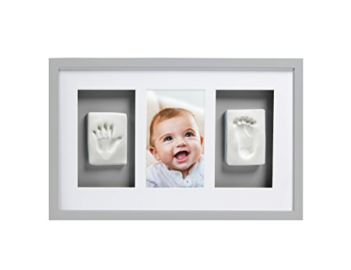 Pearhead Babyprints Newborn Baby Handprint and Footprint Deluxe Wall Photo Frame & No Bake Impression Kit, Gray