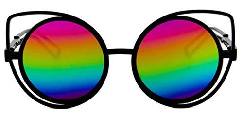 KIRALOVE Ojos de gato mujer - gato - gafas de sol redondas - niña ojos de gato - mariposa - niña - vintage - retro - moda - montura negra - lente de espejo multicolor cat eyes