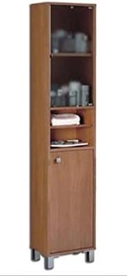 Armario para baño o aseo con puerta de cristal y varios estantes color cerezo
