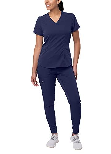 Adar Pro Modern Athletic Scrub Set for Women - Modern V-Neck Scrub Top & Yoga Jogger Scrub Pants - P9500 - Navy - S
