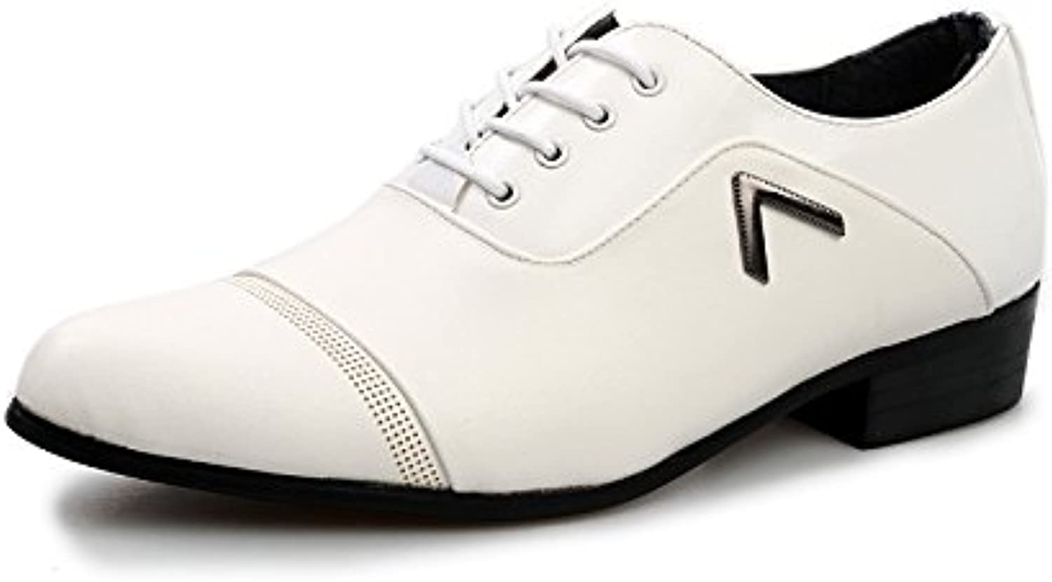 LOVDRAM Men'S shoes Casual Business Pointed shoes Men'S Dress shoes Casual Wild Black And White shoes