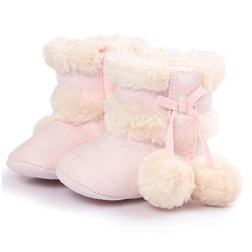EElabper 1 Par De Cuidado Personal Y Productos Caseros Bebé Botas De Invierno 0-6 Meses Niña Botines Botas De Nieve Rosa