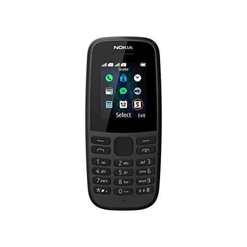 Nokia 105 Mobiltelefon (1, 8 Zoll Farbdisplay, FM Radio, 4 MB ROM, Dual-Sim) Schwarz, Version 2019