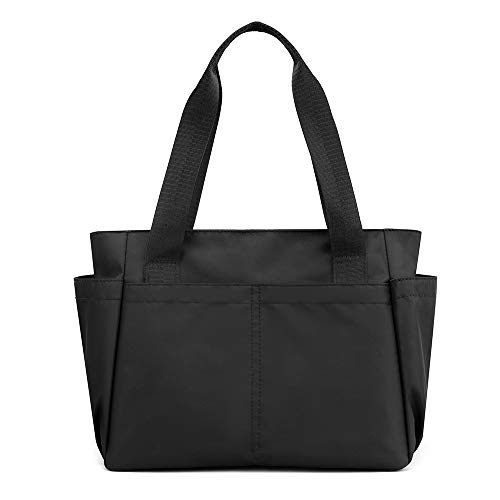 Women Handbag Nylon Sports Gym Bag Lightweight Purses Tote Shoulder Purses Bag-Black