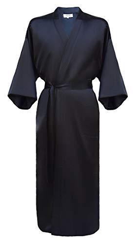 Laciteinterdite Japanisher Herren Kimono Morgenmantel Bademantel Satin schwarz L