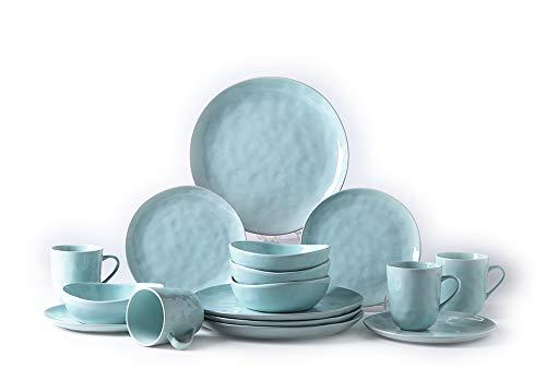 Pangu 16-Piece Dinnerware Set, Service for 4, Light Green, 4 Bowls, 4 Dishs, 4 Salad Plates, 4 Mugs, Kitchen, MINIMALISM