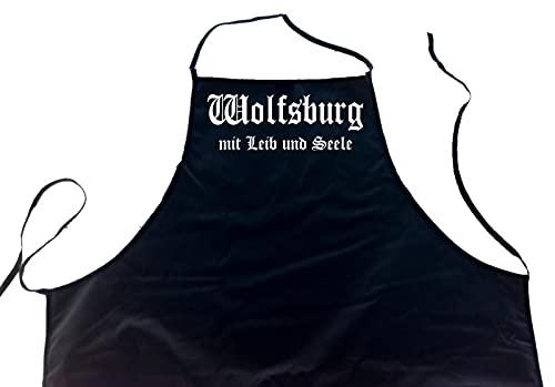 ShirtShop-Saar Wolfsburg mit Leib und Seele; Städte Schürze (Latzschürze - Grillen, Kochen, Berufsbekleidung, Kochschürze), schwarz