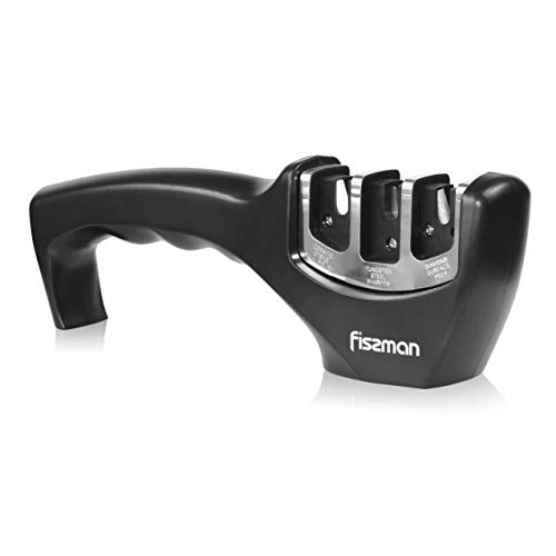 FISSMAN Premium Knife Sharpener, with 3 Stage Tailored Diamond Grinder, Non Electric, Manual, the Best Gift Ideas for Women and Men, Ideal Kitchen Assist for Bread Knife, Pocket Knife (Black)