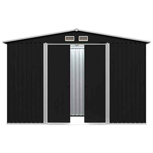 Bassette Garden Metal Tool Shed Galvanised Anthracite Roofed Outdoor Storage with 4 Vents 257x205x178 cm/101.18''x80.7''x70''