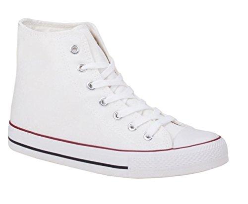 JUMEX Neu Damen Sneakers Freizeit Turnschuhe High Top Schuhe (36, Weiß)