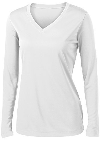 Animal Den Ladies Long Sleeve Moisture Wicking Athletic Shirts Sizes XS-4XL White-M