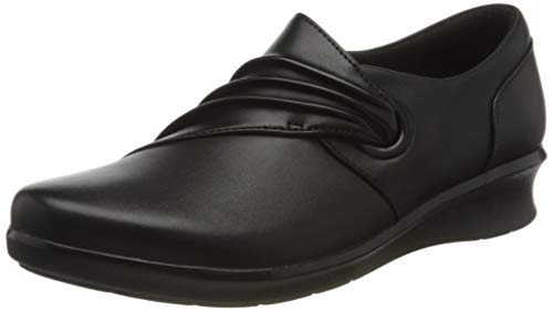 Clarks Hope Shine, Mocassino Donna, Nero Pelle Nera, 38 EU