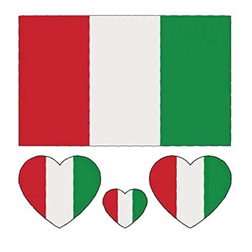 Mini-Aufkleber, Nationalflagge Tattoo Aufkleber Fans-Party-self-Stick-Etiketten Fußballschale Werbe-Aufkleber Italien 100 Stück