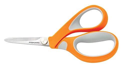 Fiskars Tijeras para tela, Longitud: 13 cm, Hoja de acero inoxidable/Mangos de plástico, Naranja, RazorEdge, 1014650