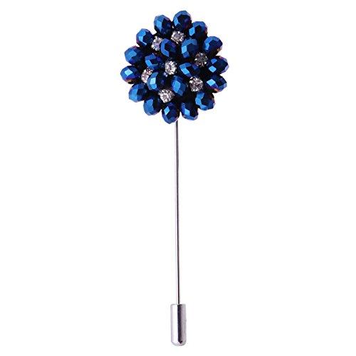 Fenical Boutonniere - Spilla a forma di fiore con strass e cristalli, per uomo e donna, abbigliamento e giacche (blu)