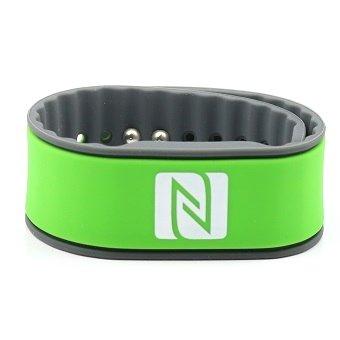 Pulsera de la NFC, Adecuado para los contactos, el Comercio, los Deportes, 924 Bytes (NTAG 216), Resistente al Agua, Verde/Gris, Ajustables