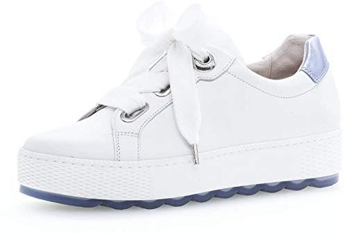 Gabor 26.535 Damen Sneaker,Low-Top Sneaker, Frauen,Business Sneaker,Halbschuh,Schnürschuh,Strassenschuh,sportlich,Freizeitschuh,Comfort-Mehrweite,Optifit- Wechselfußbett,Weiss/Azur,5.5 UK
