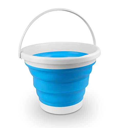Secchio Pieghevole 10 Litri, Secchiello Richiudibile in Silicone, Collapsible Bucket Portatile per Uso Domestico, Cucina, Autolavaggio, Campeggio, Pesca