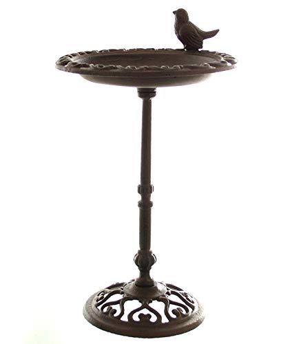 Dekoleidenschaft Vogeltränke aus Gusseisen, Dunkelbraun mit Ständer im Antik-Look, Futterstelle, Vogelbad