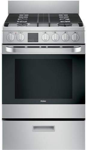 Haier QGAS740RMSS 24' Gas Range with 4 Sealed Burners 2.9 cu. ft. Oven Capacity Convection Oven in Stainless Steel