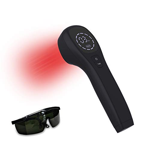 KTS Dispositivo de terapia de luz roja para aliviar el dolor, analgésico articular y muscular con gafas, luz infrarroja con sondas de 650nm y 808nm(2 * 808nm)(negro)