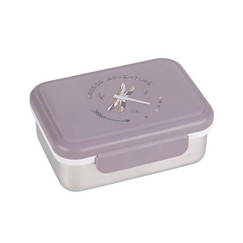 LÄSSIG Boîte à lunch pour enfants Boîte à lunch en acier inoxydable Boîte à déjeuner Adventure Dragonfly, lila