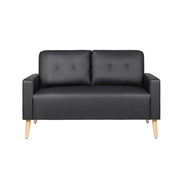 Mid Century Modern PU Leather Upholstered Living Room Loveseat 2