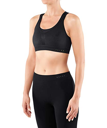 FALKE Damen Sport-BH Cross Back Medium Support - Bra Top aus Funktionsfaser mit Ringerrücken, für verschiedene Cupgrößen, 1 Stück, Bustier in schwarz (black 3000), Größe: S