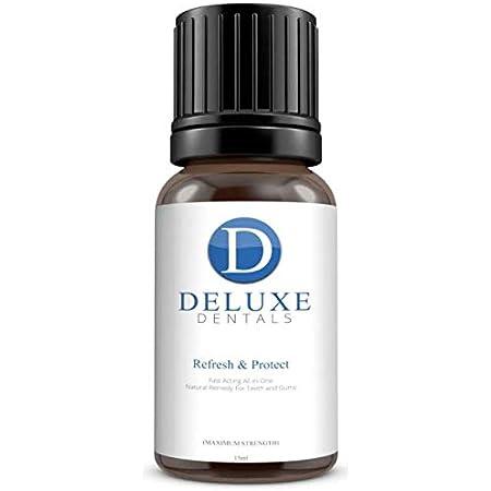 Deluxe Dentals Refresh & Protect - Tratamiento de Encías Inflamadas Sangrantes Sensibles y Mal Aliento - Enjuague Bucal para Alivio del Dolor de Acción Rápida - Limpieza de Dientes 100% Natural 15 ml