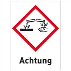 etiketten met schadelijke stoffen (GHS 05) met extra tekst waaronder: Let op 21,0 x 14,8 cm folie voor stoffen en mengsels die corrosief, huidcorrosief, en/of zwaar oogschadelijk zijn.