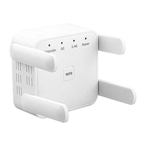 Extensor de alcance WiFi, 1200 Mbps WiFi Booster repetidor 2.4 y 5 GHz de doble banda WPS señal inalámbrica, 4 antenas WiFi extensor montaje en pared Router/AP/repetidor, enchufe británico
