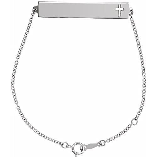 Pulsera de plata de ley 925 de 6 1/2 de 7 1/2 pulgadas, sin personalización, pulida, con cruz religiosa, regalo para mujer
