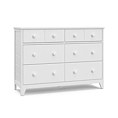 Storkcraft Moss 6 Drawer Universal Double Dresser (White) - Bedroom Furniture Storage, Modern Farmhouse Style, Sturdy and Durable Wood Construction, 6 Deep Spacious Drawers, Steel Hardware - MODERN FARMHOUSE STYLE: This 6-drawer universal double dresser is designed in the popular Modern Farmhouse style, crafted with textured shiplap wood side panels, high-quality wood and composites, and other beautiful details DEEP STORAGE DRAWERS: 6 deep, spacious drawers to store and organize all of your bedroom essentials; 2 narrower drawers on top for smaller essentials, and 4 deeper organizer drawers for plenty of storage STRONG, STURDY, AND DURABLE: Complete with durable steel hardware, Euro-glide drawers with metal safety stops, crafted with high-quality wood and composites, complete with child-safe, non-toxic finishes (assembly required) - dressers-bedroom-furniture, bedroom-furniture, bedroom - 310Pa4BQYbL. SS400  -