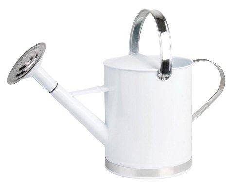 esschert Design - Arrosoir en Laque Blanche et INOX 5 litres
