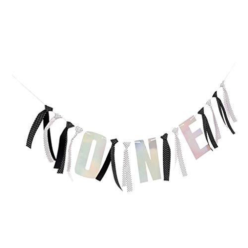 Hellery Una Pancarta de Guirnalda de Pared para Cumpleaños - en blanco y negro, tal como se describe