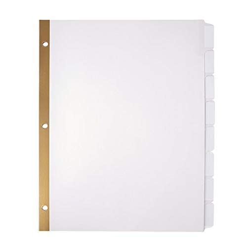 Office Depot Plain Dividers With Tabs And Labels, White, 8-Tab, Pack Of 5 Sets, 11347