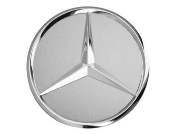 Original Mercedes-Benz & AMG Radnabenabdeckung Durchmesser ca. 74-75mm schwarz/Silber/Lorbeerkranz (Silber)