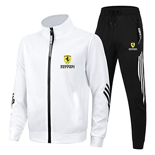Cuello alto Tres Barras Ropa Deportiva Trajes Fe.rrari para Hombre/Mujer Casual Chándal Zip Cardigan Chaquetas y Pantalones